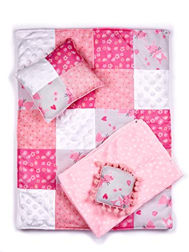 DreamWorld Collections - Quilt - 4 Piece 18 inch Doll Bedding Set - Fits American Girl Doll and Other 18 inch Dolls (Dolls not Included)
