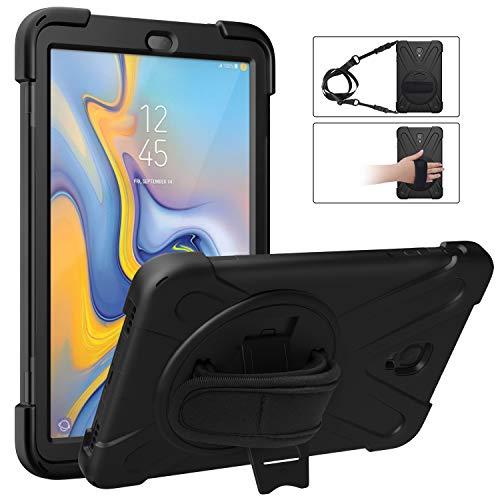 """MoKo Funda para Samsung Galaxy Tab A 10.5"""", Antivibración Funda Resistente con Soporte Giratorio de 360 Grados y Correa de Mano y Bandolera para Galaxy Tab A 10.5"""" 2018 SM-T590/T595/T597 - Negro"""