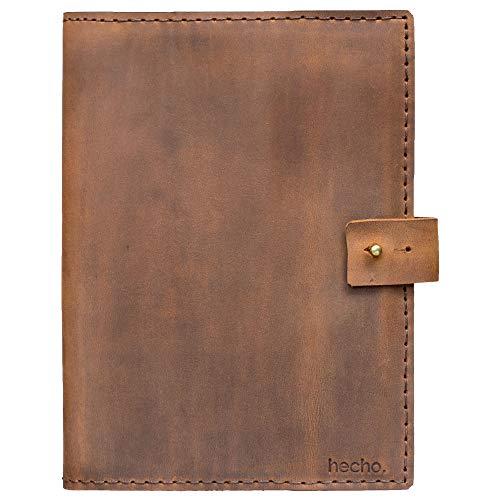 hecho. Funda de piel A5 con pasador para bolígrafo para bloc de dibujo, cuaderno, cuaderno y mucho más. Hecho a mano, piel auténtica y comercio justo (carpeta de piel, portadocumentos)