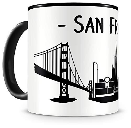Samunshi® San Francisco Skyline Tasse Kaffeetasse Teetasse H:95mm/D:82mm schwarz