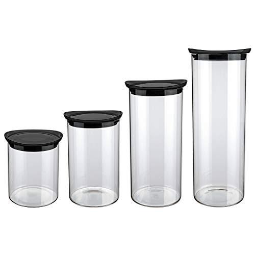 Euro Cj. De Potes de Vidro Slim com tampa plástica 4 peças, trânsparente