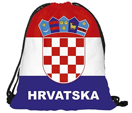 Sacca Sportiva Croazia Hrvatska A Tracolla 40 x 30 cm Lacci Porta Scarpe Gym Sack Sacco da Palestra Allenamento Accessorio Tifosi Calcio Nazionale RU-KRO Croazia