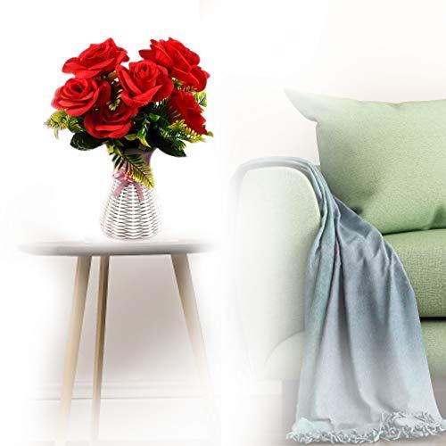10 Flowers Künstliche Rosen Silk Flowers real Touch für Hausgarten Party Hotel Büro Dekor Valentinstag Muttertag Gifts Weihnachtsgeburtstag (red)