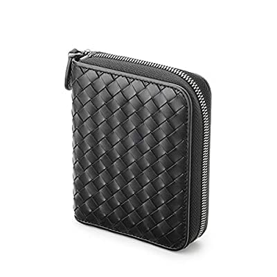 RFID Blocking Credit Card Bag Leather Hand-Woven Card Holder Organizer Zipper Wallet?Zipper-24slots?