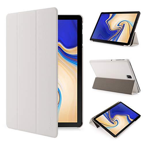 iHarbort Samsung Galaxy Tab S4 10.5 Pulgada Funda Cover (2018 libéré SM-T830N SM-T835N) - Ultra Delgado Ligero Funda de Piel de Cuerpo Entero con la función del sueño/Despierta, Blanco