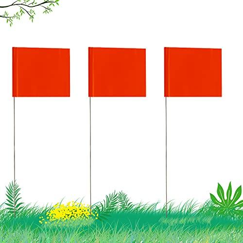 AIEX 5.1×7.6cm 42 Piezas Marcado Banderas con Poste De Acero De 35cm Vinilo Bandera De Estaca para Servicios Industriales Subterráneos Alcantarillas Paisajismo(Naranja)