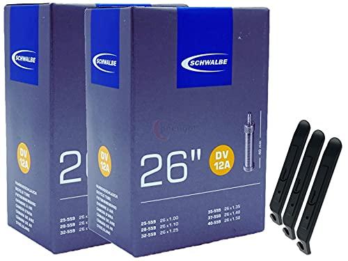 pneugo! Schwalbe 25-559/40-559 DV12A - Cámara de aire para bicicleta (2 unidades, 26', con válvula de flash y 3 desmontadores de neumáticos)