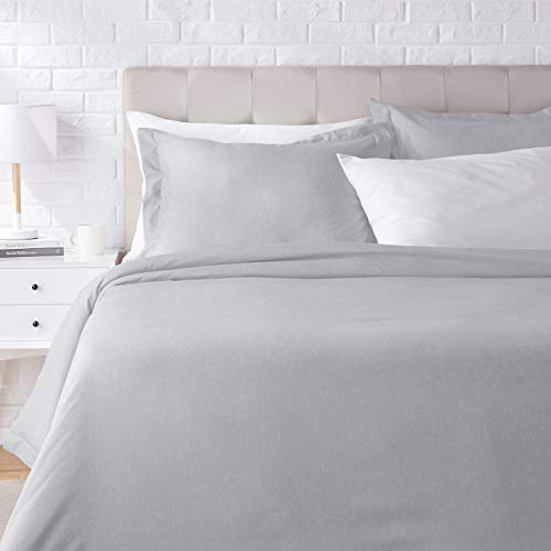 Amazon Basics Chambray Duvet Cover Bed Set - Full or Queen, Slate Grey