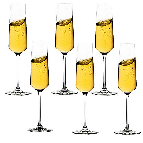 Copas de Champán con Cristales, 2 Moderno Juego de Elegantes Copas de Vino Espumoso, Soplado a Mano, Ideal Para Bodas, Aniversarios, Navidad 270 Ml,6 pieces