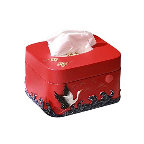 LYUN Caja de panuelos de Papel Caja De Panuelos De Resina Cubierta De Tablero Papel Higiénico Toallitas Toallito Dispensador De Servilleta Caja de panuelos Decoracion (Color : Red)