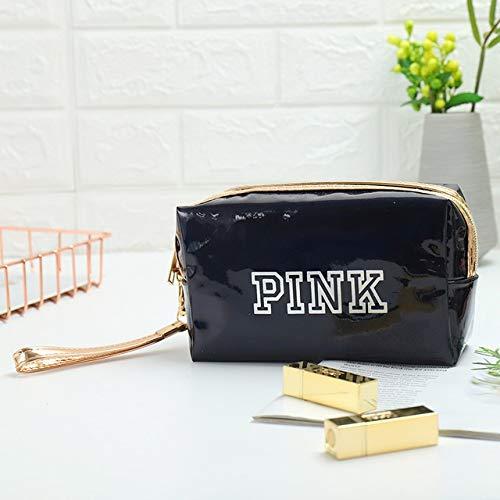 Mode étanche Laser Sacs cosmétiques Femmes Make Up Bag PVC Pouch Wash Sacs Voyage Organisateur Cas Toilette (Color : Black Square)