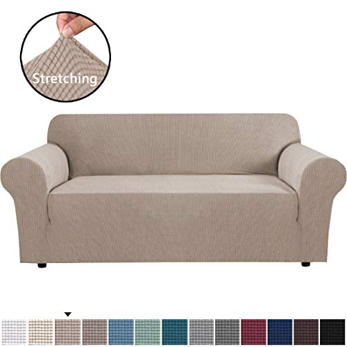 """H.VERSAILTEX Stretch Sofa Covers Couch Cover Furniture Protector Sofa Slipcover 1-Piece Feature High Spandex Textured Lycra Small Checks Jacquard Fabric with Elastic Bottom(Sofa 72""""-96"""" Wide: Sand)"""