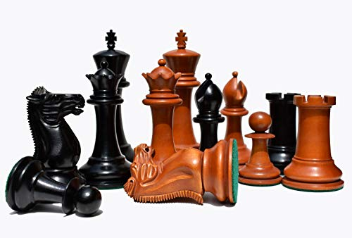 1849 Jaques Cook Type 4.4' Antiqued Boxwood & Ebony Luxury Staunton Wood Chess Pieces Set