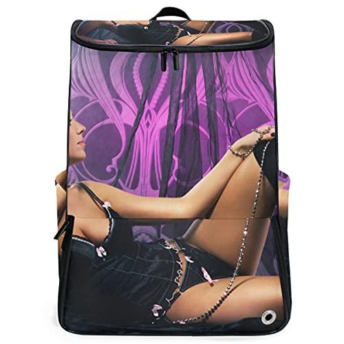 YUDILINSA Viaje Mochila,Joven mujer sexy hermosa ropa interior posando,Universitaria Mochila,Laptop Backpack con Compartimento para zapatos