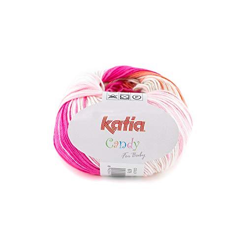 Katia Candy 678, Babywolle Baumwolle mit Farbverlauf zum Stricken und Häkeln, Baumwollgarn Nadelstärke 2,5-3 mm