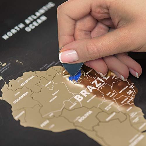 Black Scratch Off World Map (23' x 31') Rewritable Places I've Been Travel Map - Made from Flexible...
