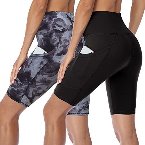 HLTPRO Damen Biker-Shorts mit hoher Taille und Taschen – 2er-Pack Bauchkontrolle, athletische Shorts für Workout, Yoga, Laufen - Schwarz - X-Groß