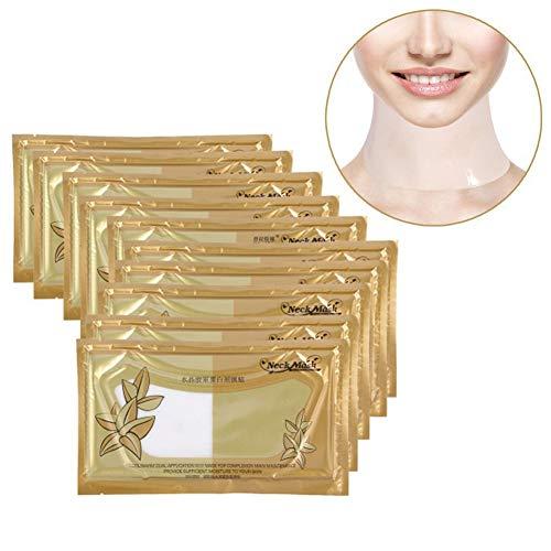 10x Neck Pad, Collagen Hals Maske gegen Dekolleté Falten Anti Wrinkle für einen faltenfreieren strafferen Hals
