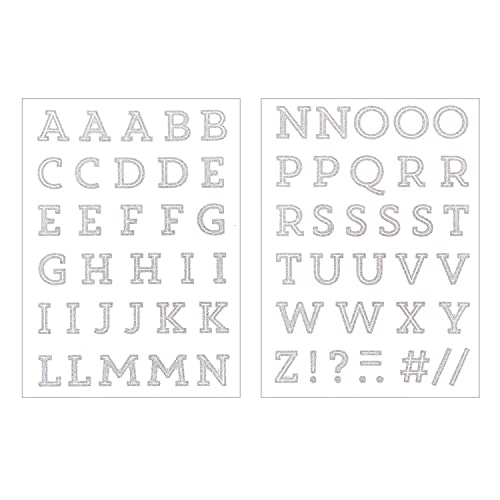 Ecussons thermocollants Alphabet gris argenté pailleté - 2,5 cm de hauteur - 65 pcs