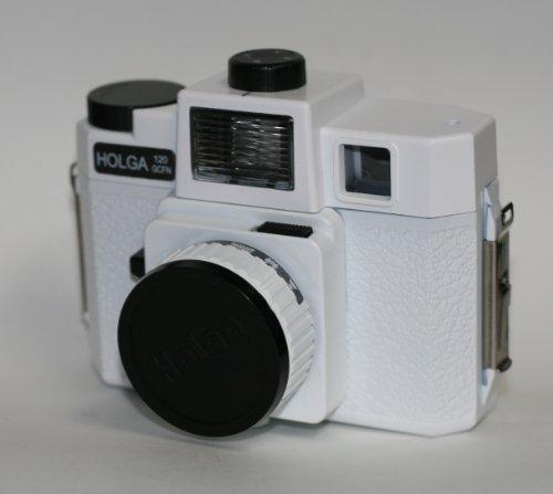 Holga 120 Glasobjektiv-Kamera mit Farbblitz (weiß)
