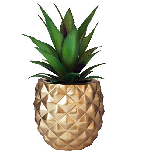 Pineapple Fake Plant Artificial Succulent in Resin Pot for Home Office...