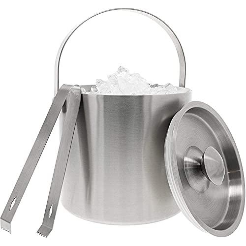 Juvale - Secchiello per il ghiaccio in acciaio INOX con pinze, colore: Argento