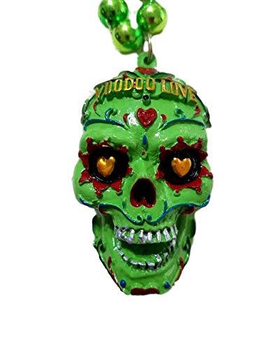 Neon Green Voodoo Love Sugar Skull Mardi Gras Beads Party Favor Necklace