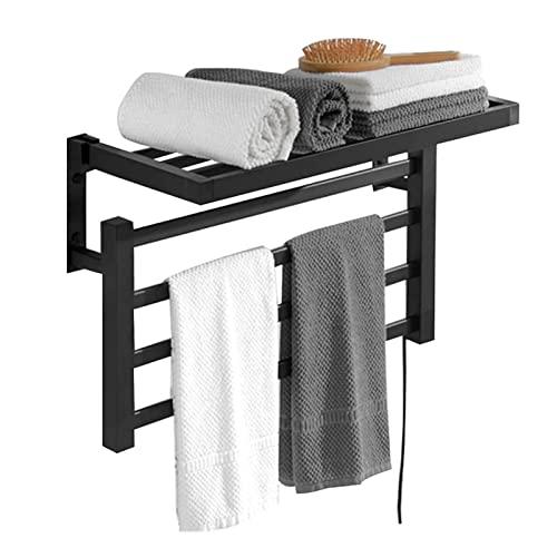 Secador de toallas electrico portatil, Toallero Eléctrico Bajo Consumo 55 W, calentador de toallas para baño con estante superior plegable enchufable acero inoxida(Size:Right wiring -220V,Color:Negro)