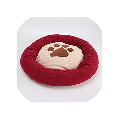 Dikke Paw Print Mat voor Hond 4 Kleuren Wasbaar Zacht Huisdier Bed Hond Warm Huisdier Mat Waterdicht Bodem Roze Wijn Rood Blauw Koffie, L-65x65cm, Winered