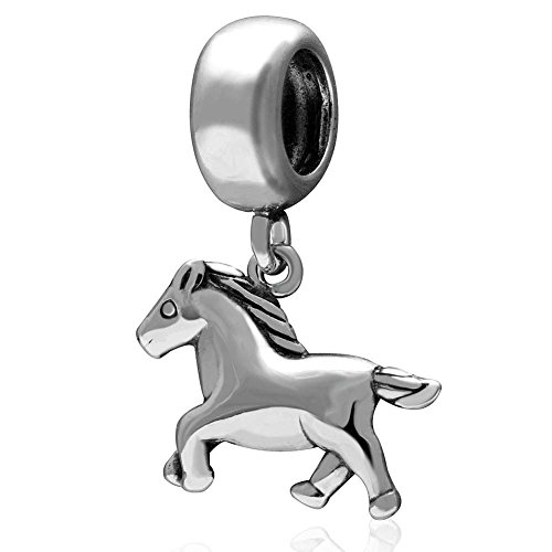 Horse Charm 925 Sterling Silver Animal Charm Keep Running Charm for Bracelet (A)
