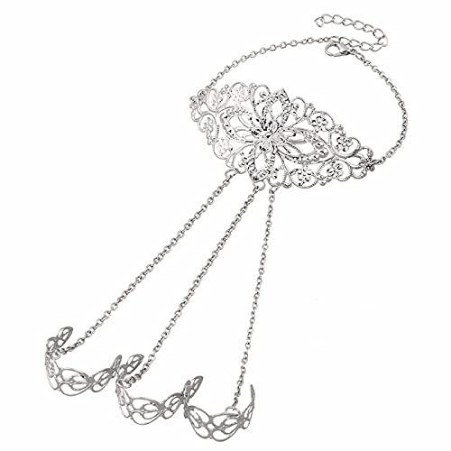 unmarked Pulsera bohemia de moda vintage y brazalete de bola hueca tallada dedo pulsera señoras joyería de moda