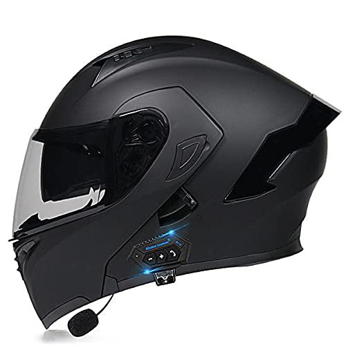 Bluetooth Integrado Casco De Moto Modular De Cara Completa Abatible Con HD Doble Visera Casco Moto Integrales Certificación ECE Para Hombres Y Mujeres Adultos(Size:XXL (63-64CM),Color:Negro-B)
