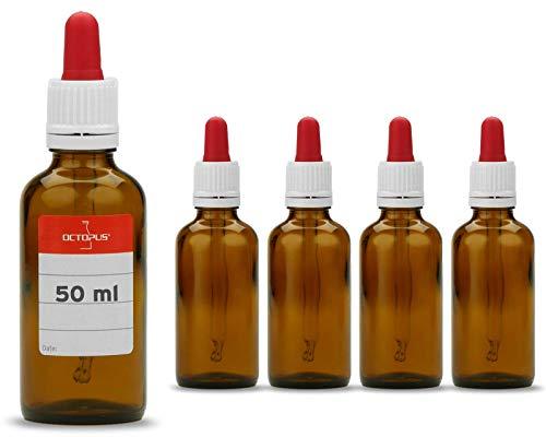 5 x 50 ml Pipettenflaschen mit Glaspipette, z.B. für E-Liquids, Farben oder Öle, Braunglasflaschen mit Dosierpipette bzw. Apothekerflaschen mit Tropfpipette, Licht-Schutz, inkl. Beschriftungsetiketten