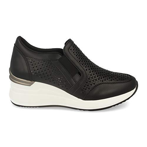 48847-Zapatillas Mujer Estilo Urban Casual con Cuna, Plataforma, Exterior Calado, Strass y Cierre Elastico. Deportivas Modernas, comodas y de Tendencia. Talla 41 Negro