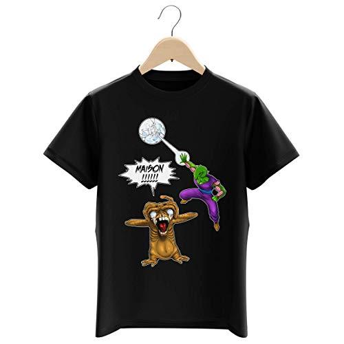 T-shirt Enfant Garçon Noir parodie DBZ et E.T. Extra-Terrestre - Piccolo et E.T l'Extra-Terrestre - MAISON !!!!!!!!!!!!!!! (T-shirt enfant de qualité premium de taille 11-12 ans - imprimé en France)