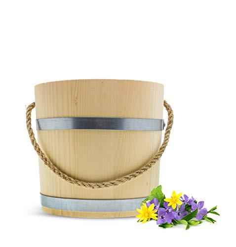 Sendez Grand seau en bois - 15 l - Diamètre : 31,5 cm - Fabriqué à la main