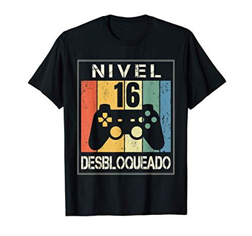 Nivel 16 Desbloqueado Gamer 16 Años 2005 Divertido Chico Camiseta
