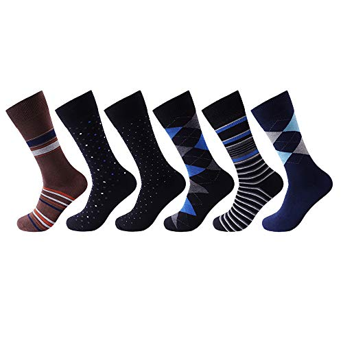 7DayOtter Modal Odor Resistant Mens Dress Socks Cotton Business Crew Socks for Men Funny Socks 6 Pack
