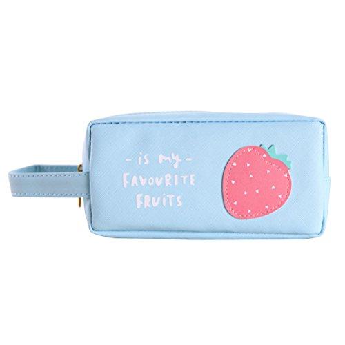STOBOK Bolsa de Lona para lápices de Frutas para el Verano, para la Escuela, para Maquillaje, papelería, Accesorios, para Estudiantes (Fresa)
