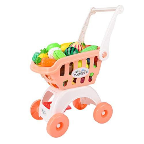 JIAOAO 1 carrito de la compra de simulación grande juguete bebé corte frutas y verduras corte música conjunto-azul verduras