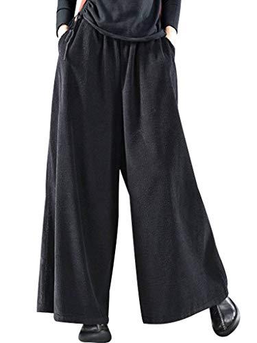 Bigassets Damen Elastische Taille Baumwolle Cordhose Weite Bein Hose Style 2 Black