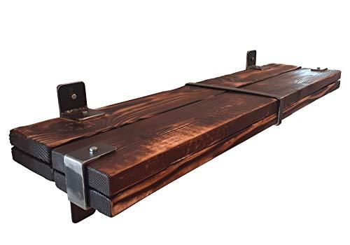CHYRKA® Wandregal Regale Schweberegal LEMBERG Hängeregal Wandboard Holzregal Loft Vintage Bar IndustrieDesign Handmade Holz Metall (Natur, 80 cm)