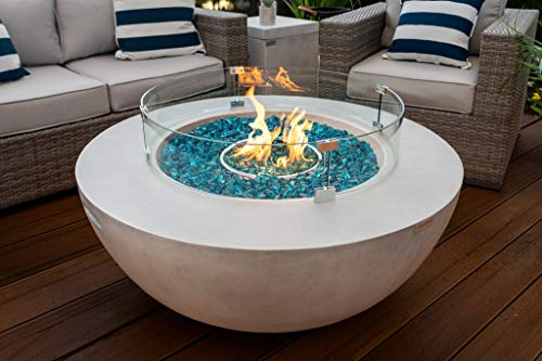 AKOYA Outdoor Essentials 42' Modern Concrete Fire Pit Table Bowl w/Glass Guard...