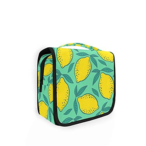 Neceser de viaje para colgar 1 bolsa de aseo amarillo limones y hojas verdes kit de maquillaje estuche organizador de cosméticos para hombres y mujeres