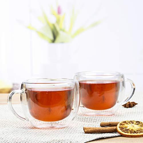 Novaliv - 2 tazze da tè in vetro, 250 ml, a doppia parete, in vetro borosilicato, adatte per lavastoviglie e microonde, tazze da tè
