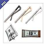 Ximimark 3Pcs Metal Bifold Money Clip Wallet Spring Money Clip Spring Clamp Cash Check Credit Card Holder 3 Colors(Black/Silver/Gold)