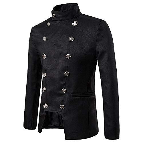 Doublehero Herren Vintage Anzug Gothic Jacke Freizeit Anzugjacke Steampunk Langarm Frack Stehkragen Mantel Gehrock Uniform Cosplay Kostüm Party Outwear Trenchcoats (L,Schwarz)