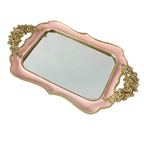AILZNN Vassoio Specchio Gioielli in Oro, Creativo Vintage Vanity in Resina Organizzatore di Vassoi Decorativi Espositore per Gioielli da Bagno con Spe