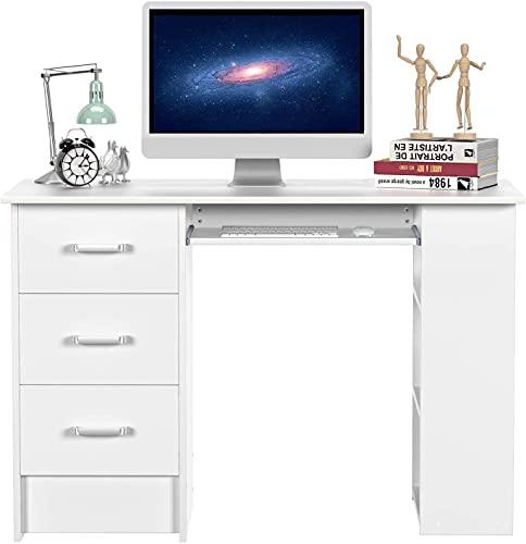 Mesa Escritorio Mesa Ordenador Mesa de Estudio Escritorio Computadora para Oficina Dormitorio con 3 Cajones 3 Estantes Teclado Extraíble (Blanco)