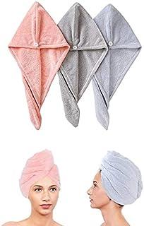 Hair Towel Wrap Turban Microfiber,Drying Bath Shower Head,Towel Quick Dryer Dry Hair Hat Wrapped Bath Cap Thicken 3 Pack (...